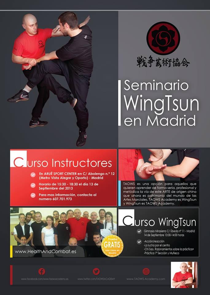 Curso Wing Tsun Sifu Salvador. 13 Septiembre (instructores), 14 abierto.