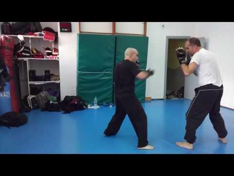 Profesores de artes marciales entrenando Wing Tsun juntos. Entradas desde no adherencia.