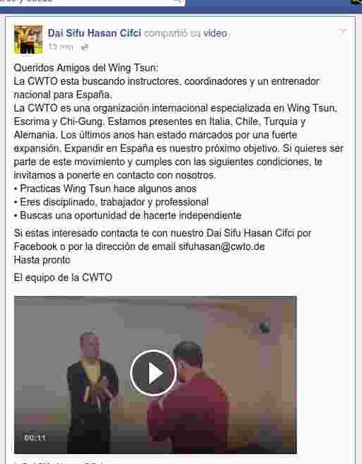 La CWTO de Sifu Hasan Cifci busca coordinador y técnicos para España
