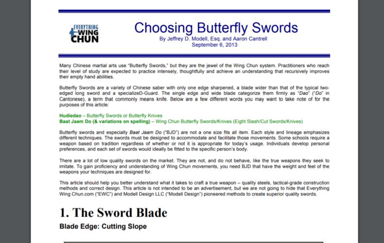 Cómo elegir unos cuchillos mariposa. De Everything Wing Chun
